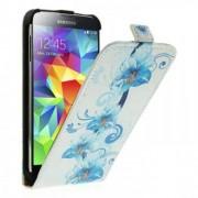 Кожен калъф с флорални мотиви за Samsung Galaxy S5 G900 - вертикално отваряне