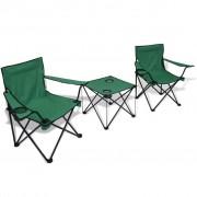 Sonata Комплект за къмпинг, 3 части, маса + 2 стола, зелен