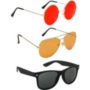 Elgator Aviator, Round, Wayfarer Sunglasses(Red, Orange, Black)