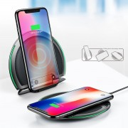 BASEUS Foldable Three Coils 10W Qi Wireless Charger Stand + Micro USB Cable for iPhone 8/8 Plus/Samsung S8 Etc- Black