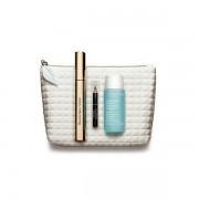 Clarins eye makeup collection confezione regalo 8 ml supra volume mascara + 30 ml instant struccante occhi + mini crayon khol matita occhi + borsa
