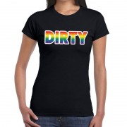 Shoppartners Dirty gay pride t-shirt zwart voor dames