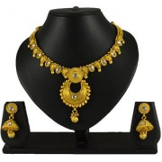 Pourni Traditional Necklace Set with Jhumka Earring studded Reverse AD Necklace Set - DLNK63