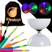 Juggle Dream LED Big Top Bearing Diabolo Set with Coloured Superglass Fibre Diablo Sticks & Firetoys Cotton Bag! Select Stick Colour! Batter