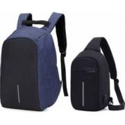 Set Rucsac laptop antifurt maxim 15.6 cu port USB de incarcare albastru plus mini-Rucsac negru
