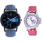 Cronograph Blue Design And Pink Strap Girls Analogue Watch By Taj Avenue