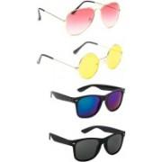 Elligator Aviator, Round, Wayfarer Sunglasses(Pink, Yellow, Blue, Black)