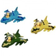 Emob Pack of 3 Push and Go Friction Powered Army Military Fighter Plane Toy for Kids (Multicolor)