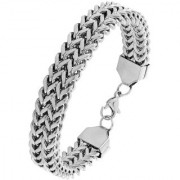 The Jewelbox Wheat Glossy Silver Plated 316L Surgical Stainless Steel Bracelet For Boys Men
