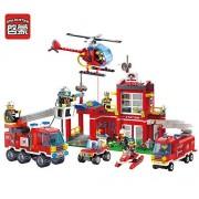 Enlighten Building Block Fire Rescue Fire Station Branch 10 Firemen 768pcs Bricks-Without Original Box