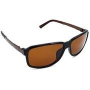 HRINKAR Men's Brown Mirrored Rectangular Sunglasses