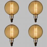 Luci Da Esterno Confezione 4 Lampade LED con estetica vintage Maxi Globo 8W E27 Vetro Oro Dimmerabile
