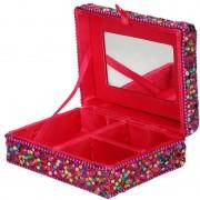 Merkloos Sieradenkistje/sieradenbox roze met glitters 8 x 10 cm
