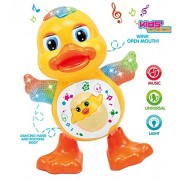 CLAP N TAP Dancing Duck With Music and 3D Flashing Lights For Babies, Toddlers, Girls and Boys | Perfect Birthday (Return) Gift for Your Baby ,Dancing Duck Toy,LED Lighting Duck Walking ,Musical Sound Toy for Toddlers and Babies, Musical Duck Toy