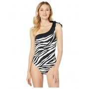 La Blanca Abstract Zebra One Shoulder One-Piece BlackCream