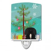 Caroline's Treasures Caroline 's Treasures Merry rbol De Navidad pekingnese cerámica de Color Negro luz de Noche, 15.2x 10.2cm, Multicolor