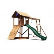 Spatiu de joaca Frontier, tobogan, zid de catarare, 2 leagane, structura solida