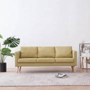 vidaXL 3-местен диван, текстил, зелен