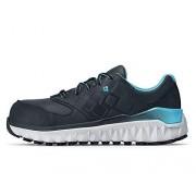 Shoes for Crews Zapatos para Crews Mujer Perla De Aluminio Punta Industrial Zapato, Negro/Azul, 9.5 US