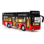 Emob Double Decker Metal Pull Back Red City Bus Toy with Light and Sound Features (Multicolor)