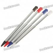 stylus extensible de aluminio para nintendo 3DS - rojo + negro + azul + plata (paquete de 4)