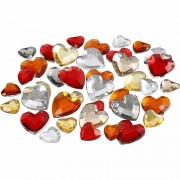 Geen Hartvormige glinster steentjes assorti rood