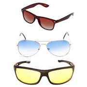 Magjons Wayfarer Blue Aviator Sunglasses Combo Yellow Driving Goggale Set of 3 With box MJK08