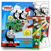 Thomas the Train Stickers Coloring Activity Set With Washable Markers Sticker Sheets and Coloring Pages Bundle with 1 Separately Licensed Coloring Sticker