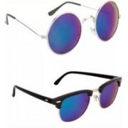Eyevy Clubmaster, Round Sunglasses(Blue)