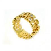 LOVE feliratos gyűrű Swarovski kristállyal, arany színű-6