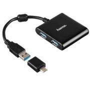 4-портов хъб USB 3.1 HAMA12325, USB-C адаптер, 4 x USB-A, bus-powered, черен, HAMA-12325
