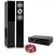 """Auna Hifi Set """"Music Glow"""" - altavoz de pie - amplificador HiFI de válvulas - cable"""
