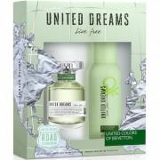 Benetton United Dreams Live Free Комплект (EDT 80ml + Deo Spray 150ml) за Жени