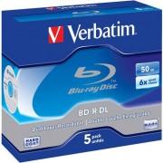 Medii de stocare verbatim Blu-ray BD-R Dual Layer Verbatim | Jewel Case 5 | 50GB | 6x | Scratch Plus | (V43748)