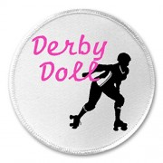 "Derby Doll - 3"" Sew / Iron On Patch Roller Skate Skater Pink Team Sport"