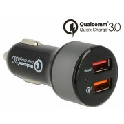 Incarcator auto cu 2 x USB Qualcomm® Quick/Fast Charge 3.0 (incarcare rapida), Navilock 62739