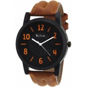 Relish (RELISH-535) Round Dial Tan Leather Strap Quartz Watch for Men