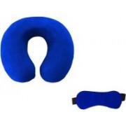 Flymoon Valvet U Shape Neck Pillow With built-in elastic strap and Blind Sleeping Eye Mask for Men Women Girls Boys Kids- Combo(Blue) Neck Pillow & Eye Shade(Blue)