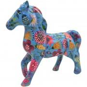 Pomme Pidou Spaarpot paard blauw met planten 21 cm