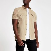 River Island Mens Ecru utility short sleeve regular fit shirt (S)