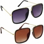 Eyevy Wayfarer, Retro Square, Over-sized, Shield, Spectacle , Rectangular Sunglasses(Black, Brown)