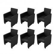 vidaXL Jedálenské stoličky, 6 ks, umelá koža, čierne (3x60346)