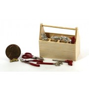 Dollhouse Miniature Natural Wood Tool Box with Tools Set by Town Square Miniatures