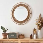 Casatera Miroir rond vintage en rotin