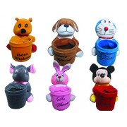 Marchie's Apuu,Pooh,Micky,Rabbit,Dog,Doramon Character Soft Toys Pen stand Set Of 6