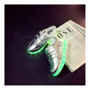 Kids Boys Girls LED Luminous Shoes Fashion Flashing USB Rechargeable Sneakers Silver