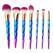 7Pcs Rainbow Spiral Handle Makeup Brushes Foundation Blush Powder Facial Brush Purple Hair Cosmetic