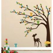 EJA Art brown tree cute animals Wall Sticker (Material - PVC) (Pec - 1) With Free Set of 12 pec butterflies sticker