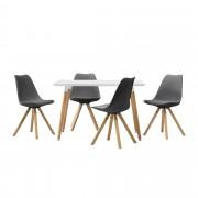 [en.casa]® Étkezőgarnitúra étkezőasztal 4 székkel 120 x 70 cm fehér/szürke 4 személyes desing konyhai asztal Celine