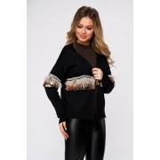 Cardigan SunShine negru casual tricotat cu croi larg cu maneci lungi cu aplicatii cu paiete